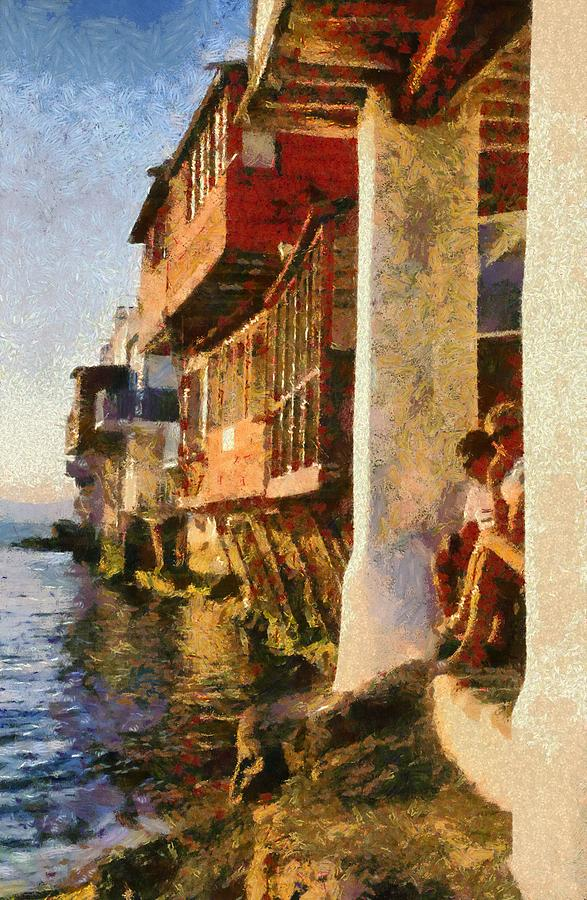 Little Venice In Mykonos Island Painting  - Little Venice In Mykonos Island Fine Art Print