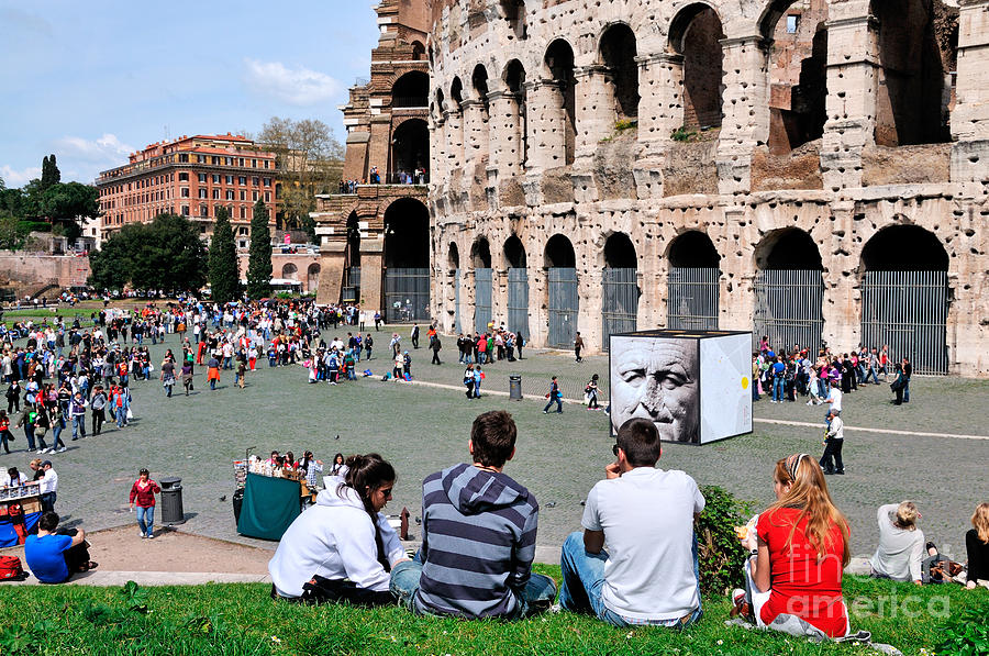 Outside Colosseum In Rome Photograph