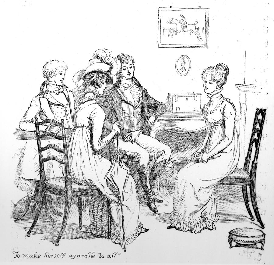 Scene From Pride And Prejudice By Jane Austen Drawing