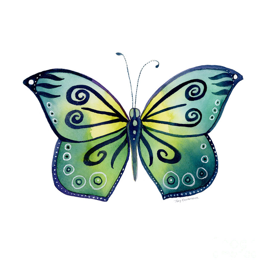 Capanea Butterfly Painting - 92 Teal Button Cap Butterfly by Amy Kirkpatrick