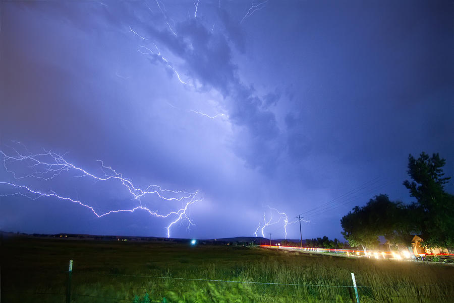95th And Woodland Lightning Thunderstorm View Photograph  - 95th And Woodland Lightning Thunderstorm View Fine Art Print