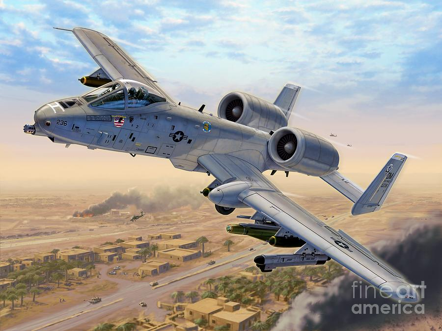 A-10 Digital Art - A-10 Over Baghdad by Stu Shepherd