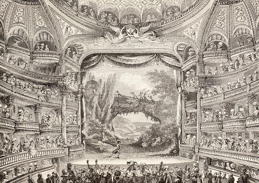 A 1789 Performance In The Theatre Des Varietes Amusantes Drawing  - A 1789 Performance In The Theatre Des Varietes Amusantes Fine Art Print