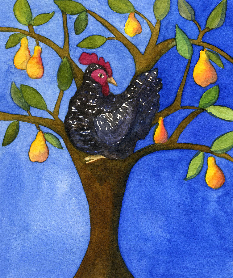 A Barred Rock In A Pear Tree Painting