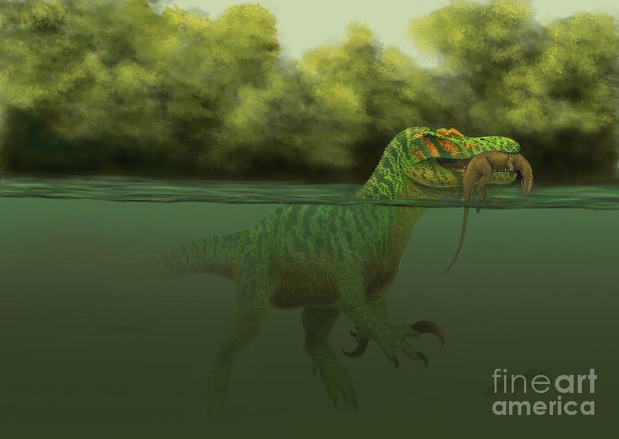 A Baryonyx Escapes Swimming Digital Art  - A Baryonyx Escapes Swimming Fine Art Print