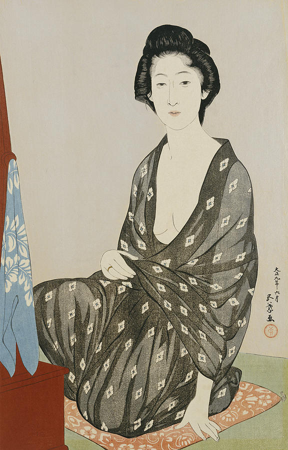 A Beauty In A Black Kimono Painting