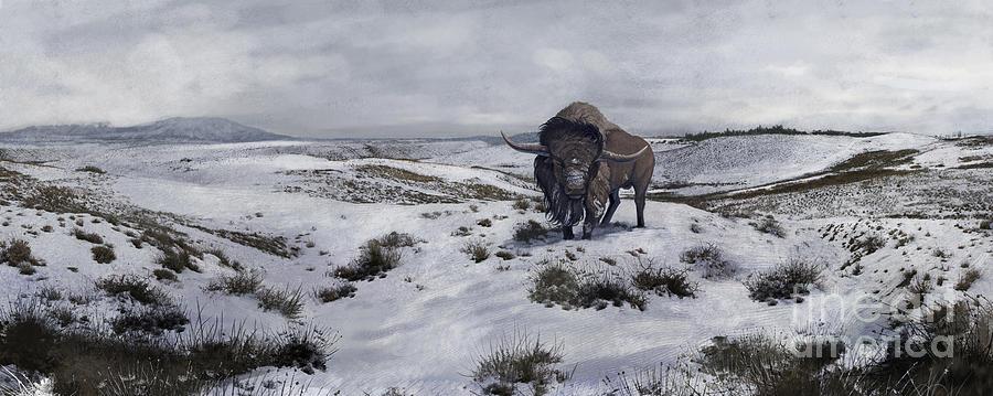 A Bison Latifrons In A Winter Landscape Digital Art