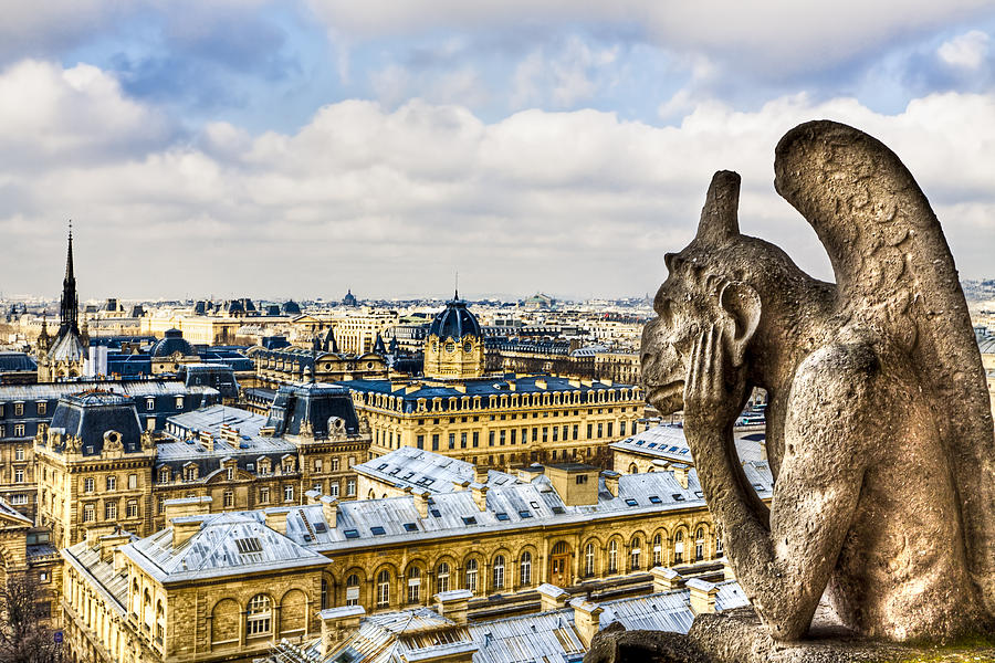 A Bored Gargoyle Sees Paris Photograph  - A Bored Gargoyle Sees Paris Fine Art Print