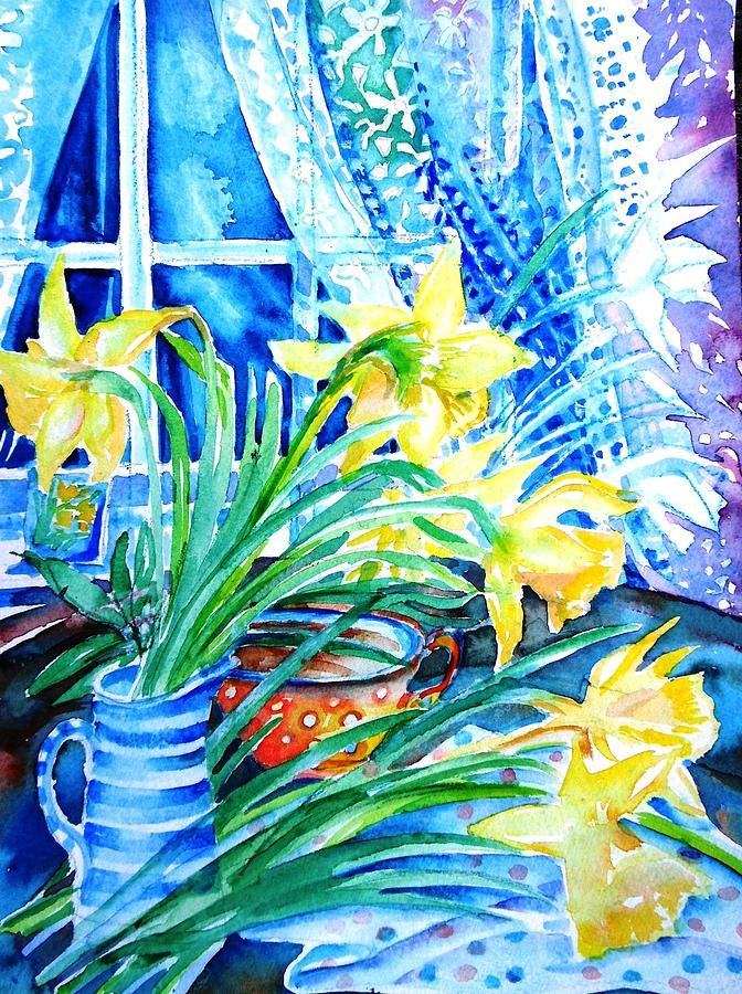 A Bouquet Of April Daffodils  Painting  - A Bouquet Of April Daffodils  Fine Art Print