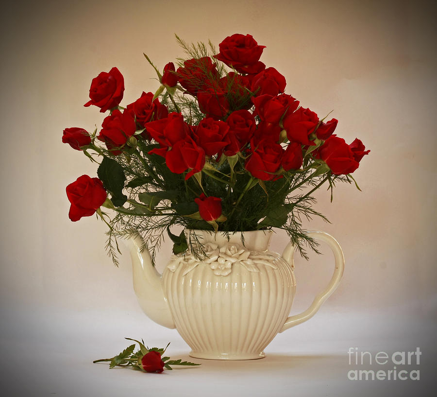A Bouquet Of Red Rose Tea Photograph