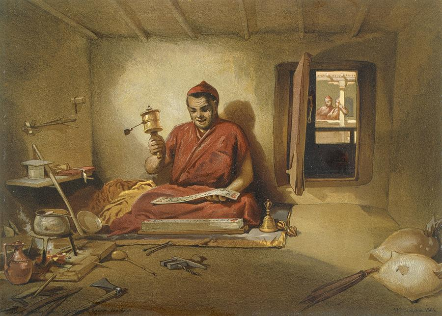 Indian Drawing - A Buddhist Monk, From India Ancient by William Crimea Simpson