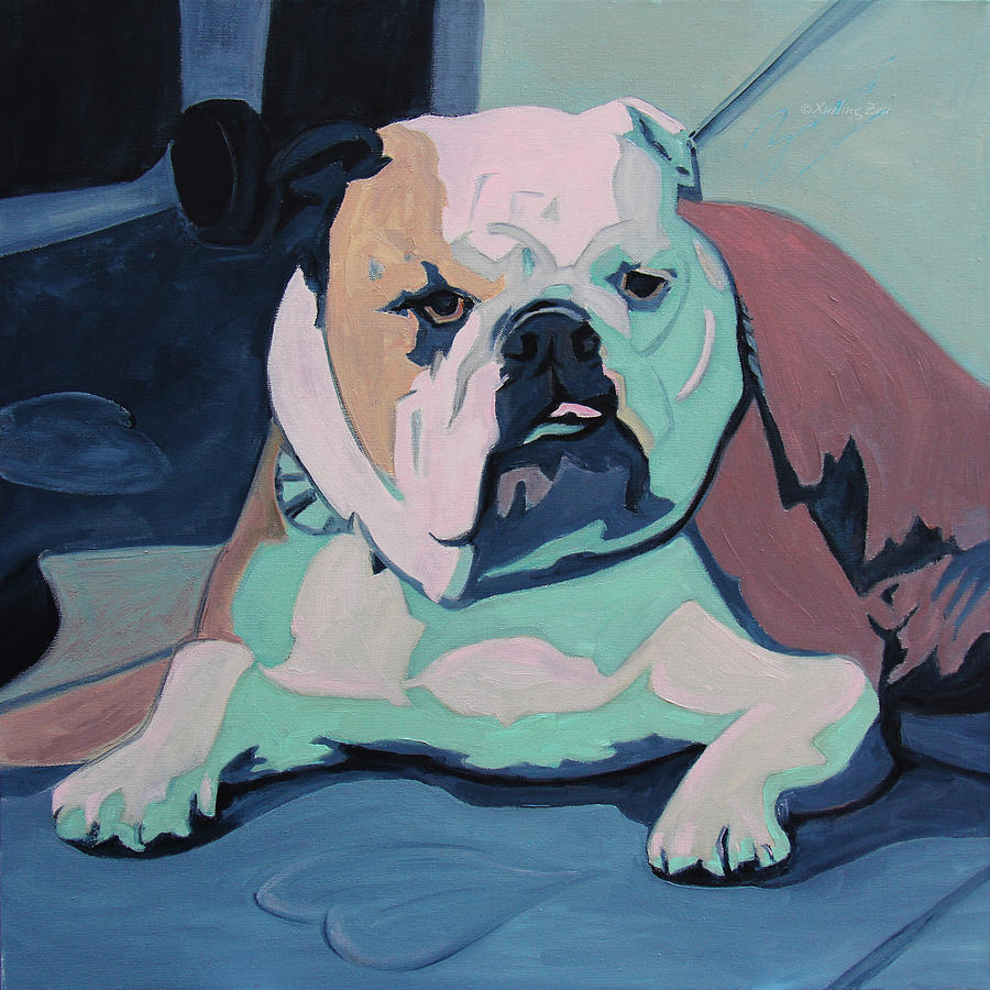 A Bulldog In Love Painting  - A Bulldog In Love Fine Art Print