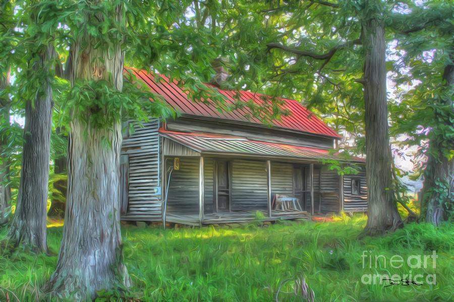 A Cabin In The Woods Digital Art  - A Cabin In The Woods Fine Art Print
