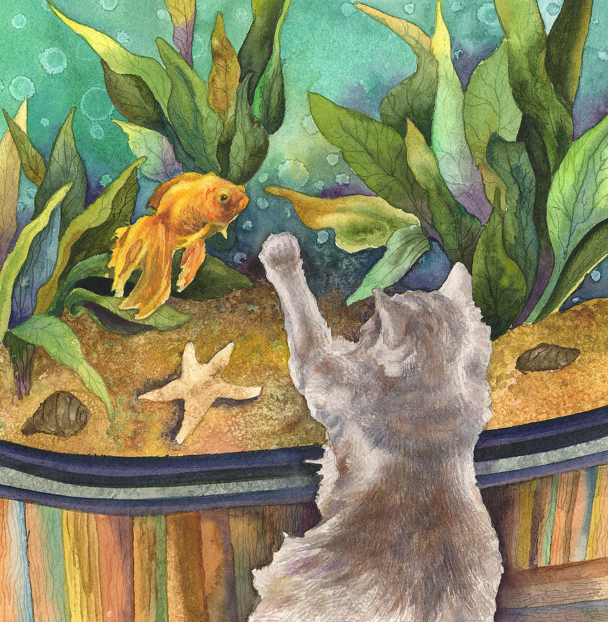 A cat and a fish tank by anne gifford for Fish tank paint