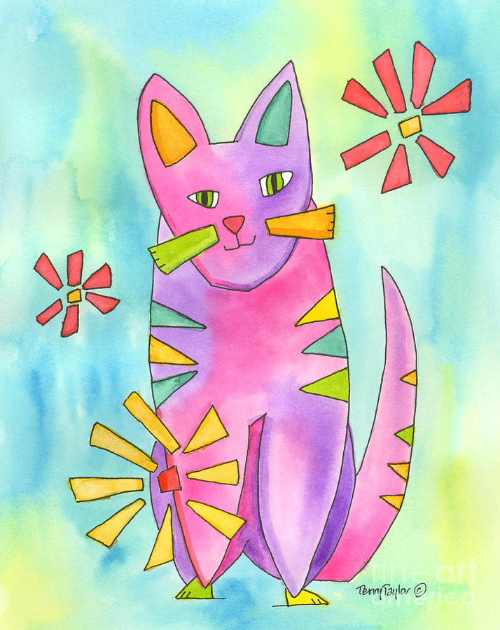 A Cat Of Many Colors II Painting