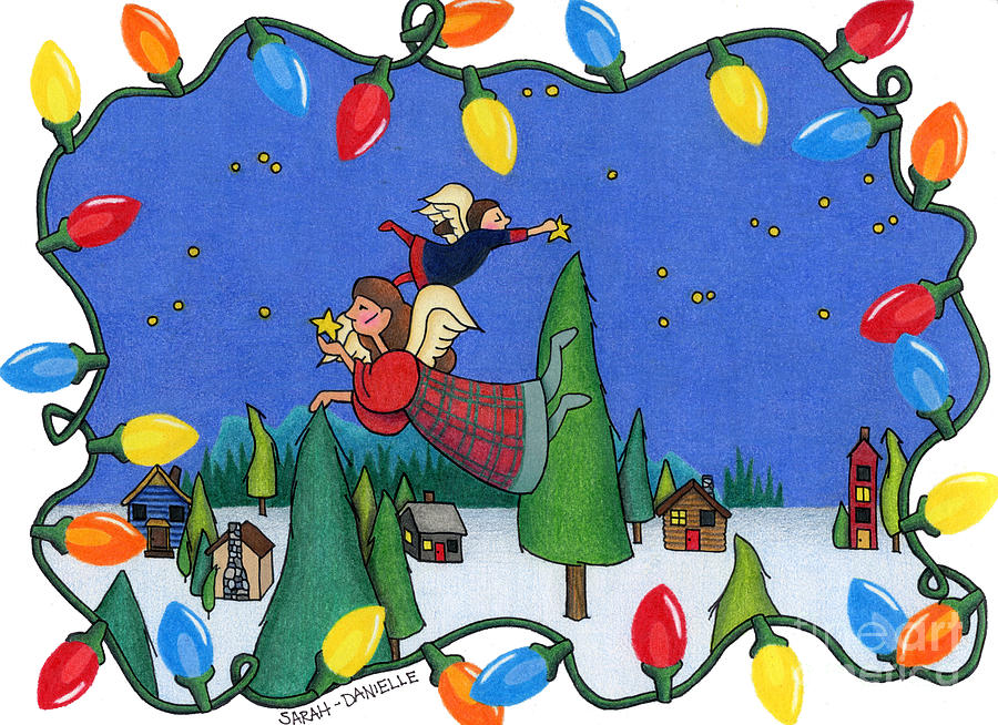 A Christmas Scene Drawing  - A Christmas Scene Fine Art Print