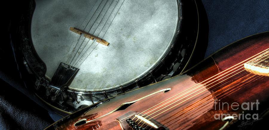 A Classic Pairing Digital Guitar And Banjo Art By Steven Langston Photograph