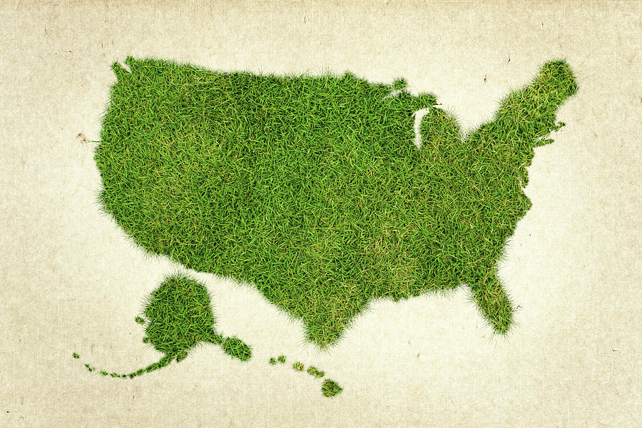 Map Of The United States Photograph - United State Grass Map by Aged Pixel