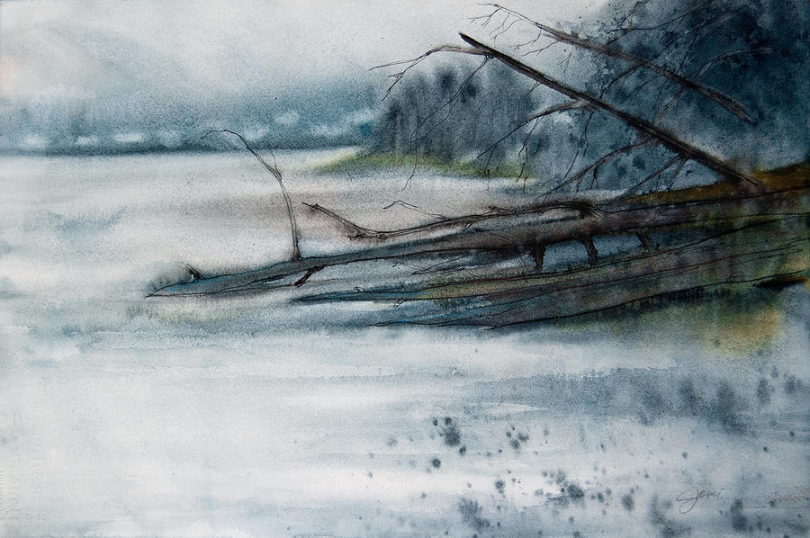 Landscape Painting - A Cold And Foggy View by Jani Freimann