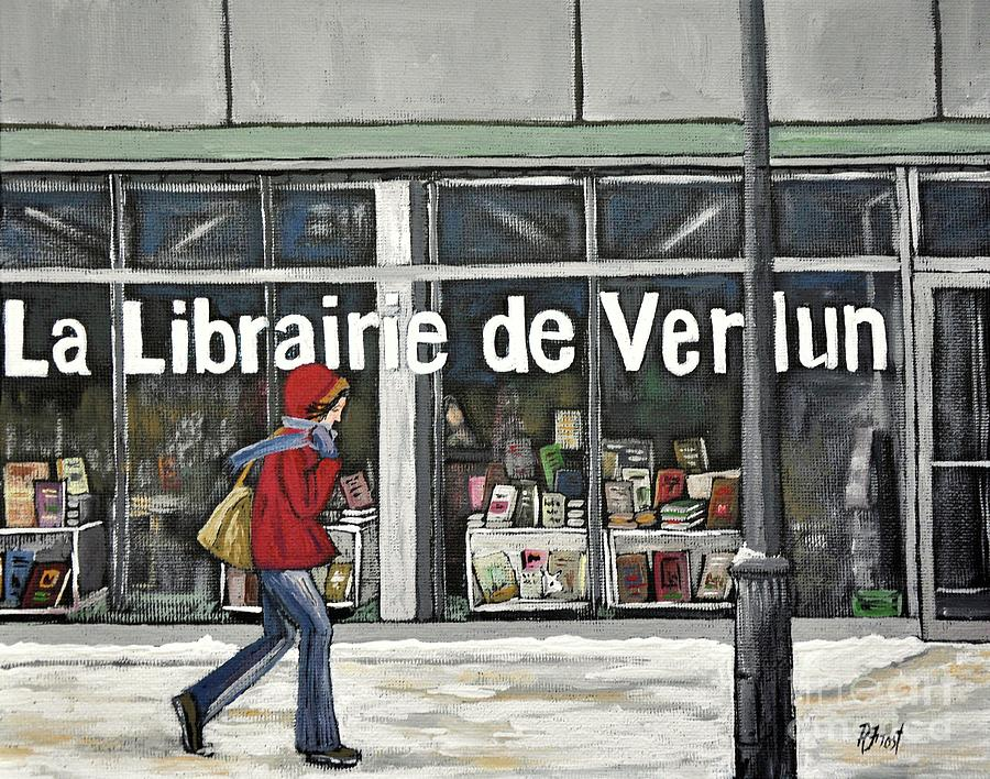 A Cold Day In Verdun  Librairie De Verdun Painting  - A Cold Day In Verdun  Librairie De Verdun Fine Art Print