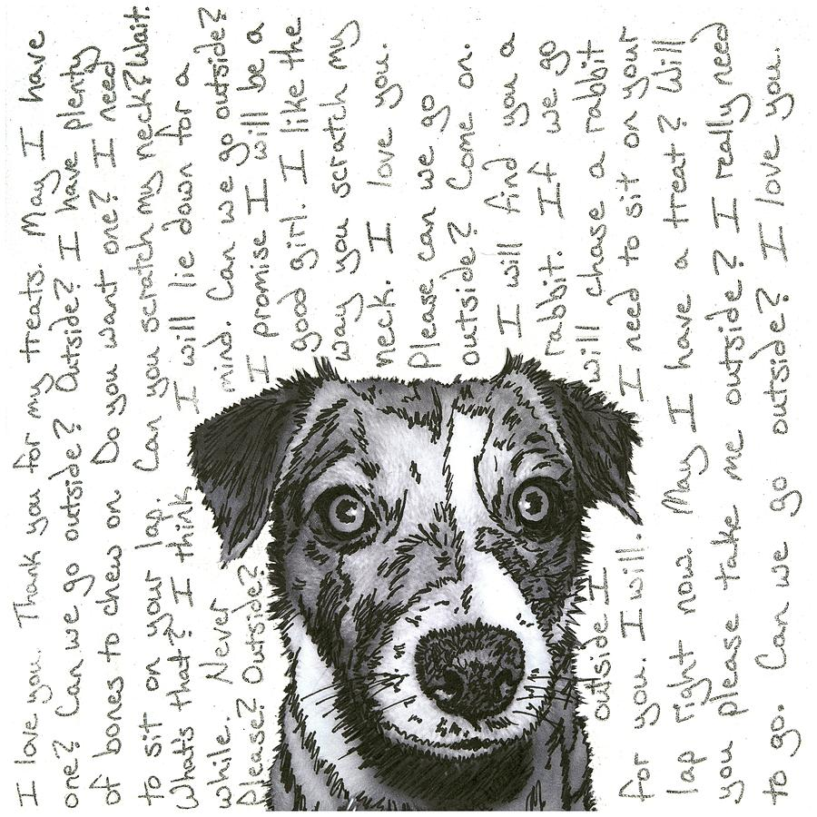 Dog Mixed Media - A Conversation With A Jack Russell Terrier by Salvadore Delvisco
