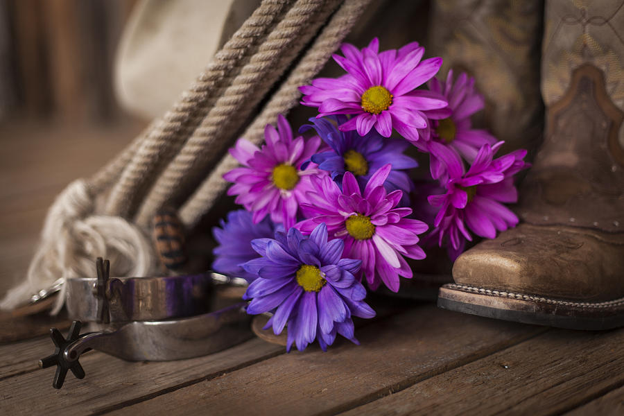 Landscape Photograph - A Cowgirls Flowers by Amber Kresge