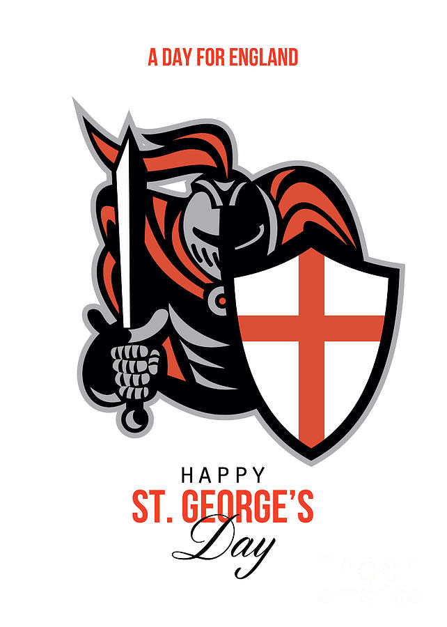 A Day For England Happy St George Greeting Card Digital Art