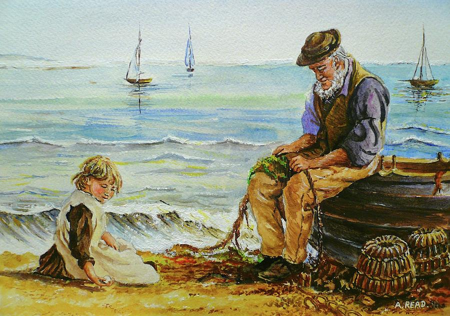 A Day With Grandad Painting  - A Day With Grandad Fine Art Print