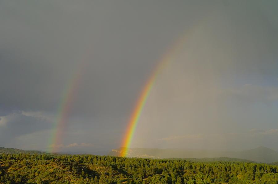 Rainbows Photograph - A Double Rainbow Near Durango by Jeff Swan