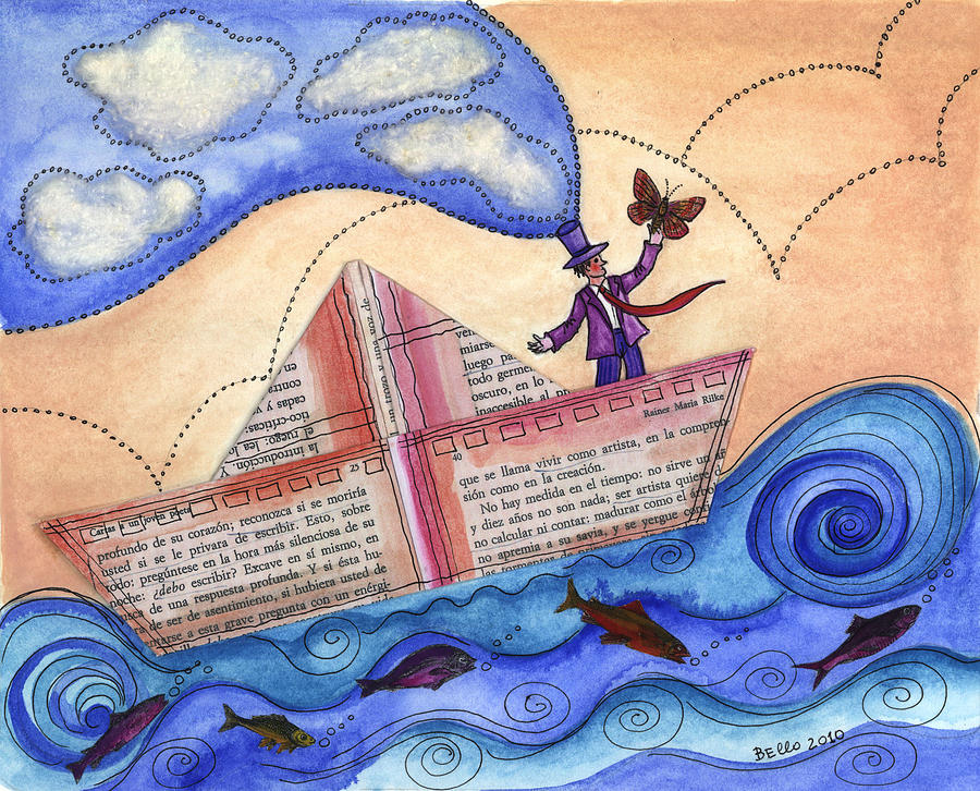 A Dreamer In A Paperboat... Painting  - A Dreamer In A Paperboat... Fine Art Print