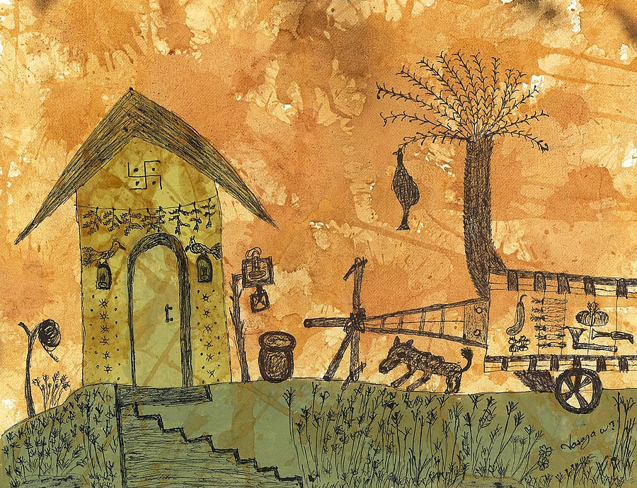 A Farm In India With Hut And Bull Cart Painting  - A Farm In India With Hut And Bull Cart Fine Art Print