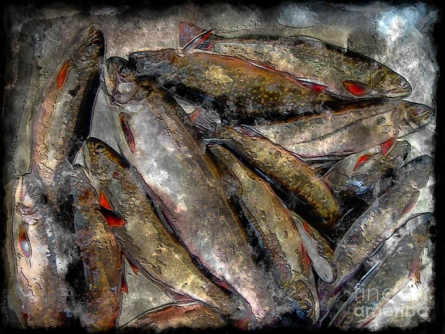 A Fine Catch Of Trout Photograph - A Fine Catch Of Trout - Steel Engraving by Barbara Griffin