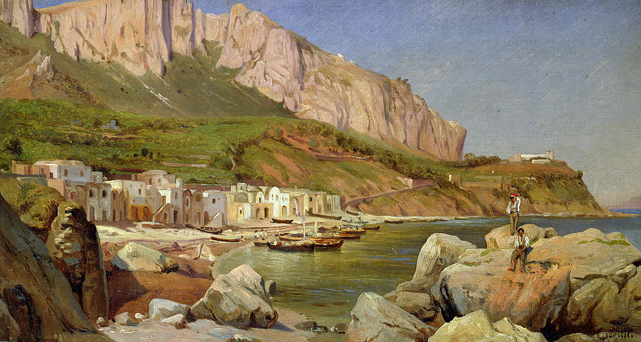 A Fishing Village At Capri Painting - A Fishing Village At Capri by Louis Gurlitt