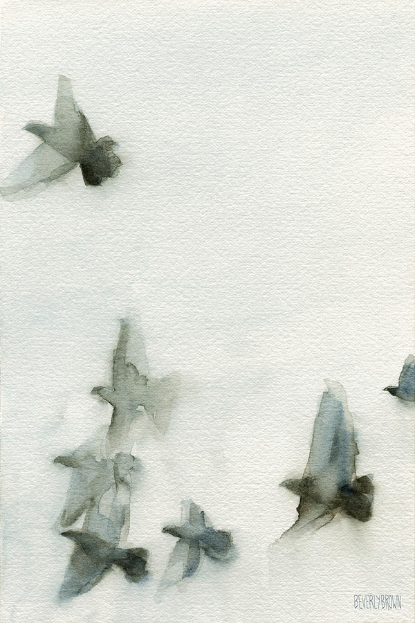 A Flock Of Pigeons 1 Watercolor Painting Of Birds Painting  - A Flock Of Pigeons 1 Watercolor Painting Of Birds Fine Art Print