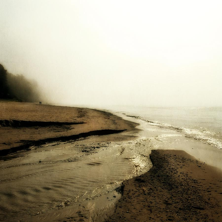A Foggy Day At Pier Cove Beach Photograph