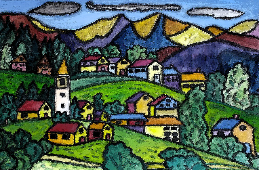 A Folksy Swiss Town Painting
