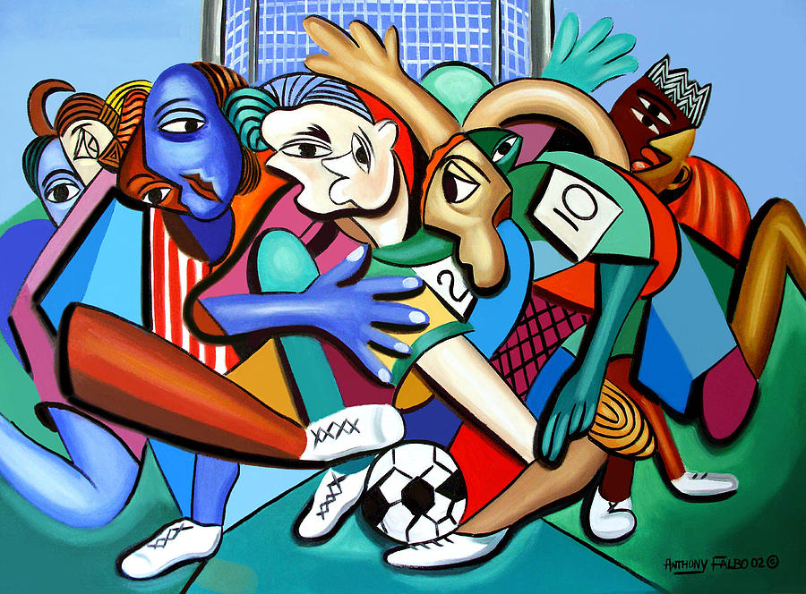 A Friendly Game Of Soccer Painting - A Friendly Game Of Soccer by Anthony Falbo