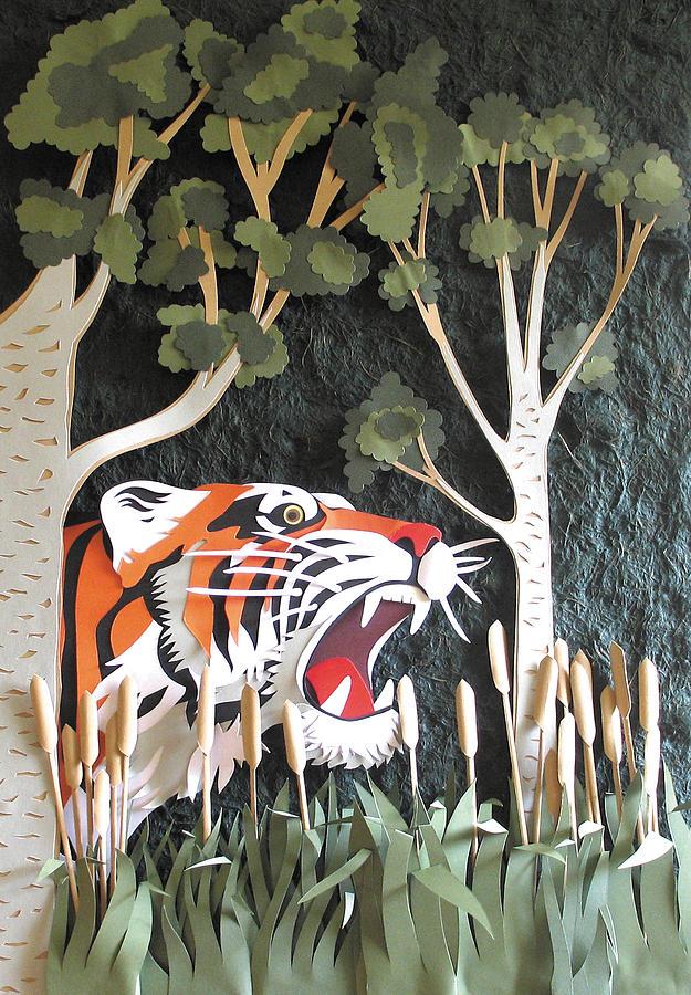 Tiger Head Sculpture - A Gentle Warning by John Hebb