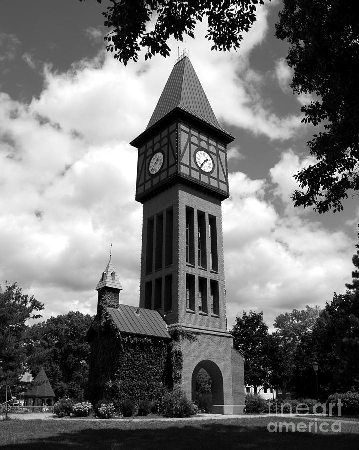 A German Bell Tower Photograph - A German Bell Tower Bw by Mel Steinhauer