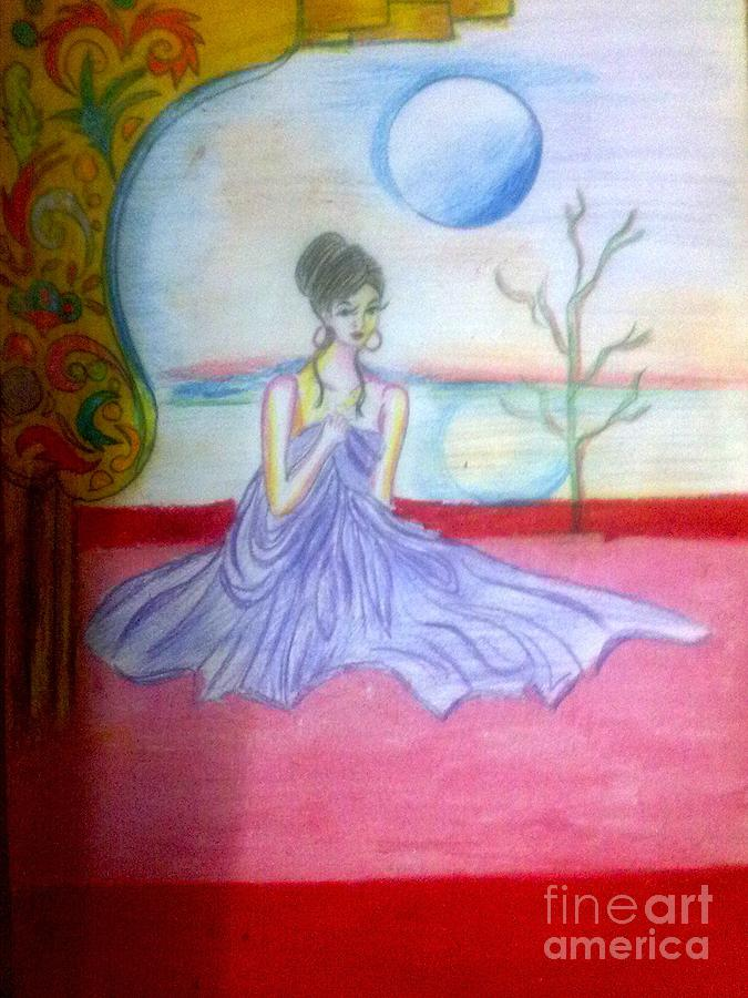 A Girl In Dream Night Drawing