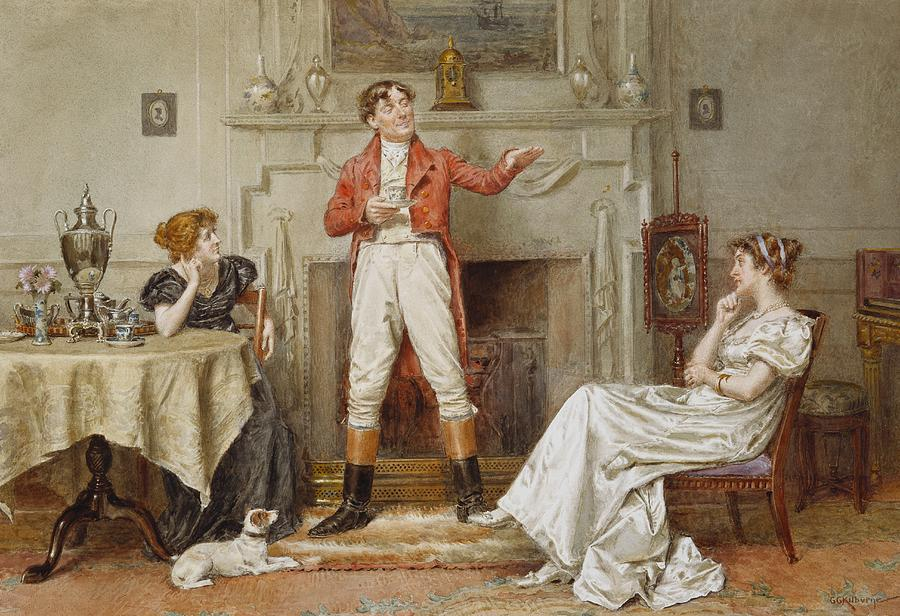 Interior; Male; Female; Seated; Standing; Raconteur; Story; Storytelling; Yarn; Huntsman; Red Coat; Breeches; Hunting; Foxhunting; Tea; Afternoon; Teacup; Fireside; Hearth; Listening; Talking; 19th; 20th Painting - A Good Story by George Goodwin Kilburne
