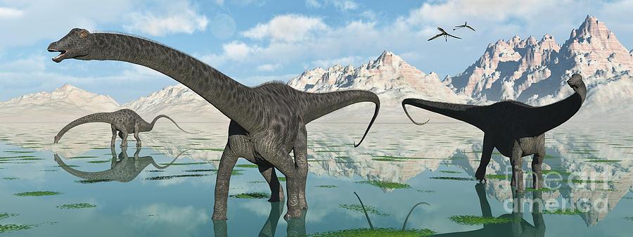 A Group Of Diplodocus Dinosaurs Grazing Digital Art