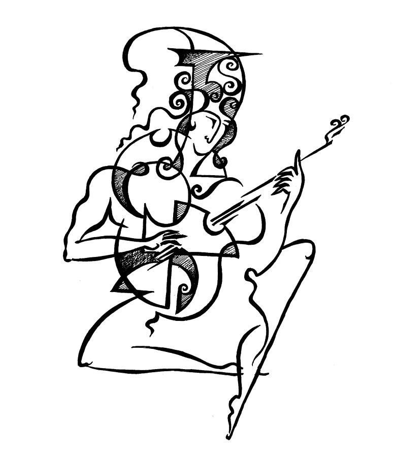 A Guitar Player Drawing by Victor Koryagin