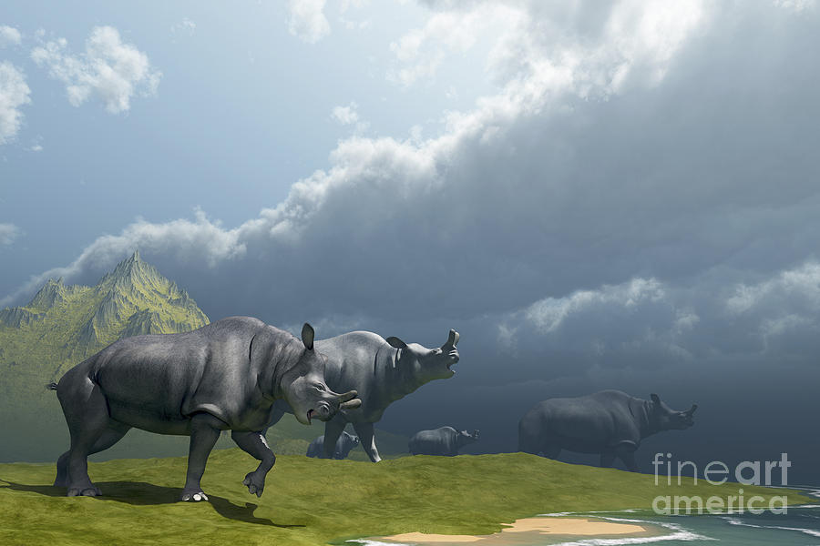 A Herd Of Brontotherium Dinosaurs Come Digital Art  - A Herd Of Brontotherium Dinosaurs Come Fine Art Print