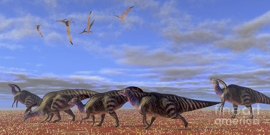 A Herd Of Parasaurolophus Dinosaurs Digital Art