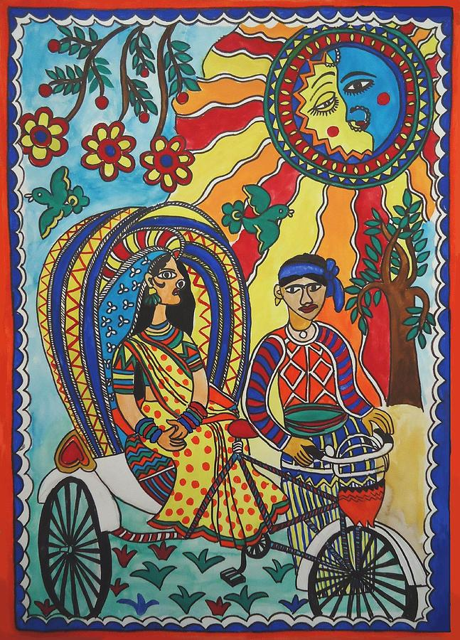 A Journey By Rickshaw Painting