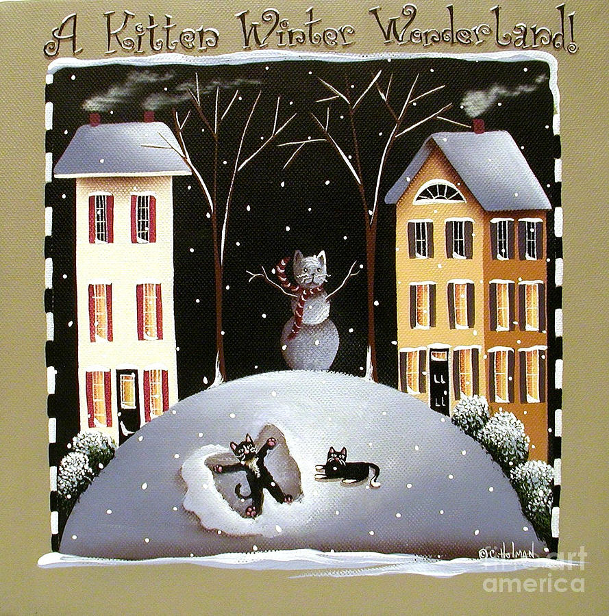 A Kitten Winter Wonderland Painting  - A Kitten Winter Wonderland Fine Art Print