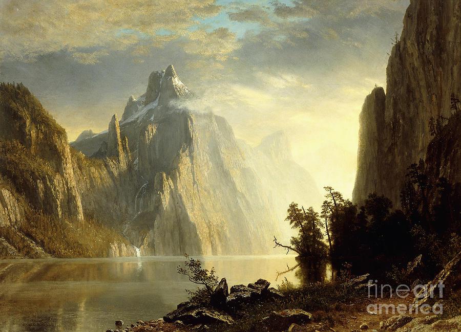Albert Bierstadt Painting - A Lake In The Sierra Nevada by Albert Bierstadt