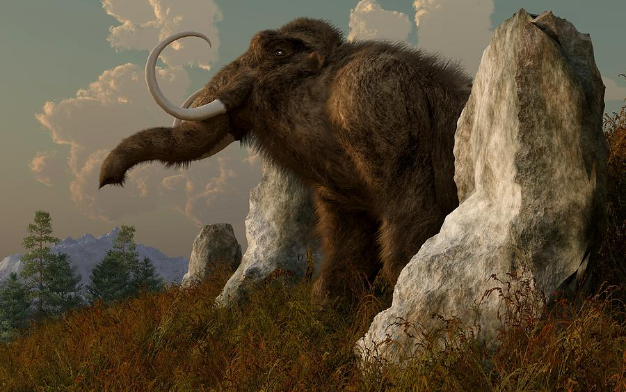 Extinct Digital Art - A Mammoth On Monument Hill by Daniel Eskridge