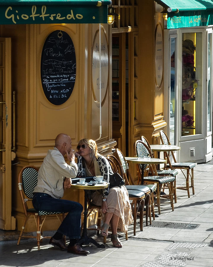 A Man A Woman A French Cafe Photograph